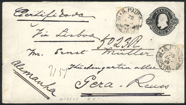 Lot 304 - brazil postal history -  Guillermo Jalil - Philatino Auction # 2006 WORLDWIDE + ARGENTINA: Selection of covers of all periods, cards, postal stationeries and more!
