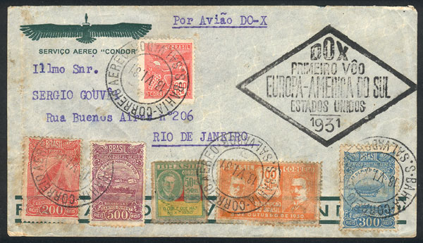 Lot 337 - brazil postal history -  Guillermo Jalil - Philatino Auction # 2006 WORLDWIDE + ARGENTINA: Selection of covers of all periods, cards, postal stationeries and more!