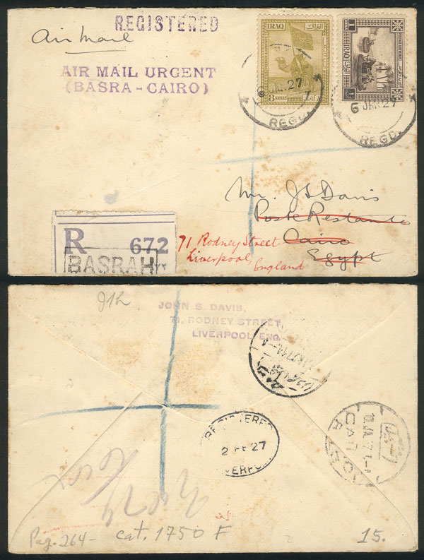 Lot 556 - Iraq postal history -  Guillermo Jalil - Philatino Auction # 2006 WORLDWIDE + ARGENTINA: Selection of covers of all periods, cards, postal stationeries and more!
