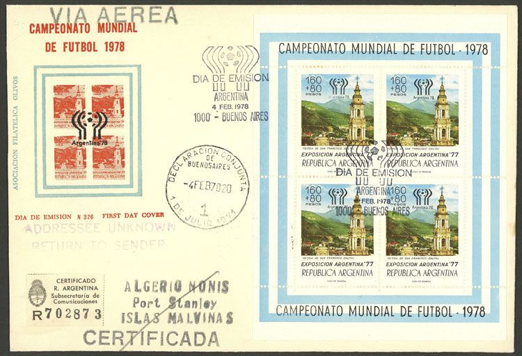 Lot 1038 - Argentina souvenir sheets -  Guillermo Jalil - Philatino Auction # 2008 ARGENTINA: