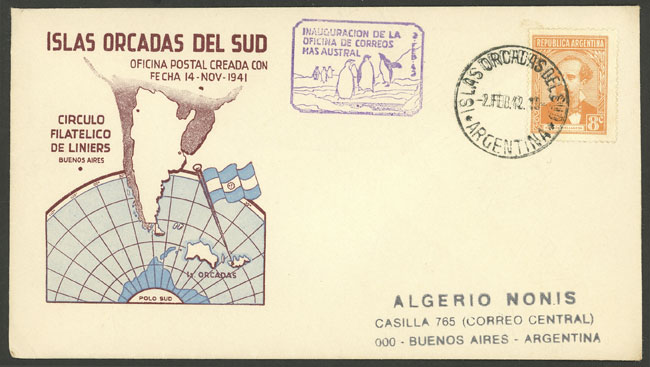 Lot 8 - ARGENTINE ANTARCTICA (ISLAS ORCADAS) postal history -  Guillermo Jalil - Philatino Auction # 2008 ARGENTINA: