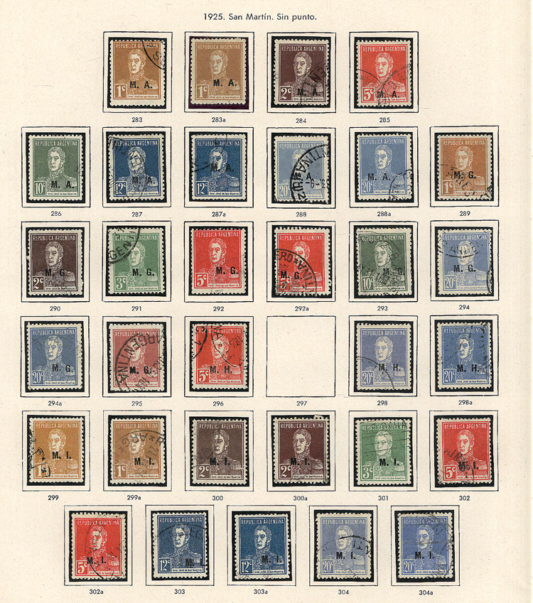 Lot 278 - Argentina official stamps -  Guillermo Jalil - Philatino Auction # 2009 WORLDWIDE + ARGENTINA: First general auction of the year!