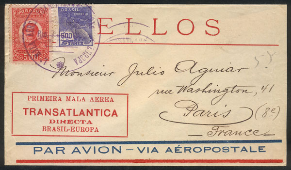 Lot 491 - brazil postal history -  Guillermo Jalil - Philatino Auction # 2009 WORLDWIDE + ARGENTINA: First general auction of the year!