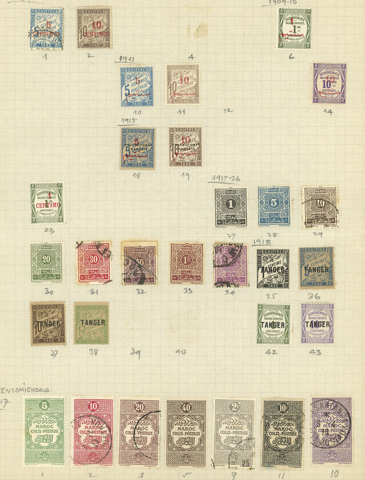 Lot 831 - french morocco Lots and Collections -  Guillermo Jalil - Philatino Auction # 2009 WORLDWIDE + ARGENTINA: First general auction of the year!