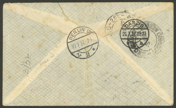 Lot 94 - germany - danzig postal history -  Guillermo Jalil - Philatino Auction # 2009 WORLDWIDE + ARGENTINA: First general auction of the year!