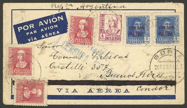 Lot 593 - Spain postal history -  Guillermo Jalil - Philatino Auction # 2009 WORLDWIDE + ARGENTINA: First general auction of the year!