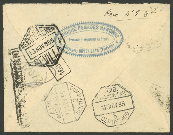 Lot 588 - Spain postal history -  Guillermo Jalil - Philatino Auction # 2009 WORLDWIDE + ARGENTINA: First general auction of the year!