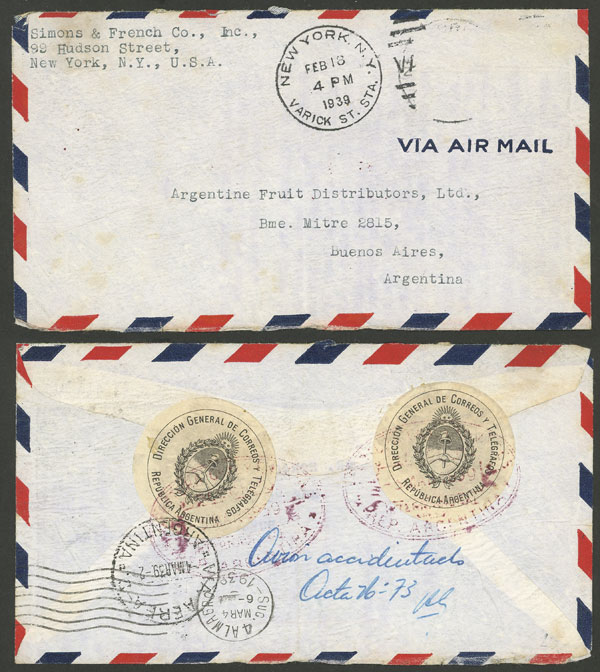 Lot 629 - united states postal history -  Guillermo Jalil - Philatino Auction # 2009 WORLDWIDE + ARGENTINA: First general auction of the year!
