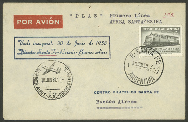 Lot 390 - Argentina postal history -  Guillermo Jalil - Philatino Auction # 2009 WORLDWIDE + ARGENTINA: First general auction of the year!