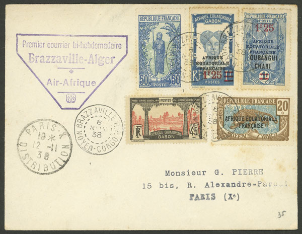 Lot 6 - French Equatorial Africa postal history -  Guillermo Jalil - Philatino Auction # 2014 WORLDWIDE + ARGENTINA: Selection of good covers, postcards and more!