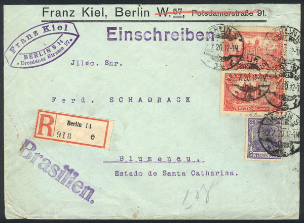 Lot 13 - germany postal history -  Guillermo Jalil - Philatino Auction # 2014 WORLDWIDE + ARGENTINA: Selection of good covers, postcards and more!