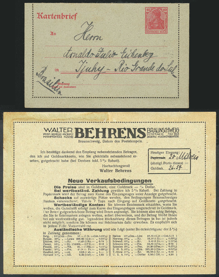 Lot 8 - germany Postal stationery -  Guillermo Jalil - Philatino Auction # 2014 WORLDWIDE + ARGENTINA: Selection of good covers, postcards and more!