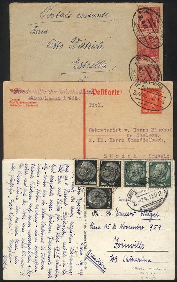 Lot 14 - germany postal history -  Guillermo Jalil - Philatino Auction # 2014 WORLDWIDE + ARGENTINA: Selection of good covers, postcards and more!