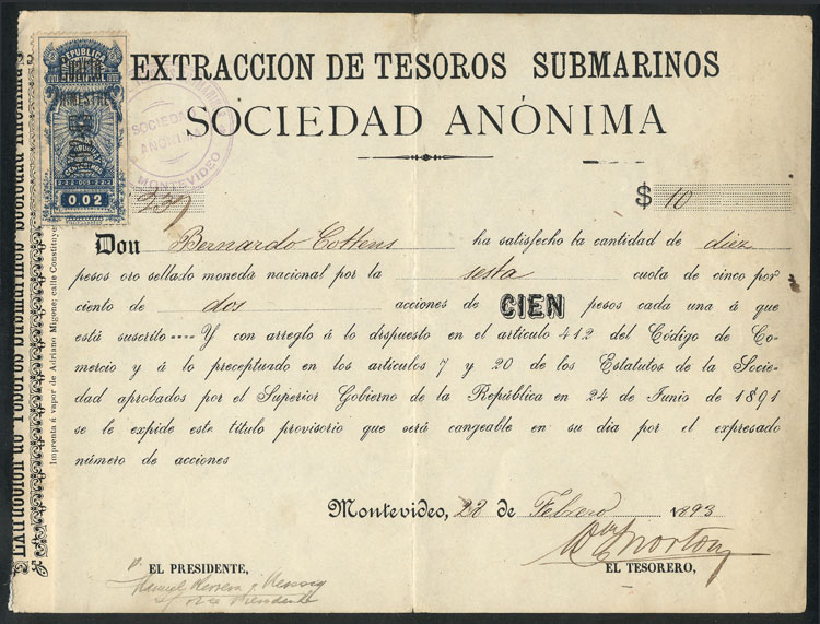 Lot 935 - Uruguay revenue stamps -  Guillermo Jalil - Philatino Auction # 2014 WORLDWIDE + ARGENTINA: Selection of good covers, postcards and more!