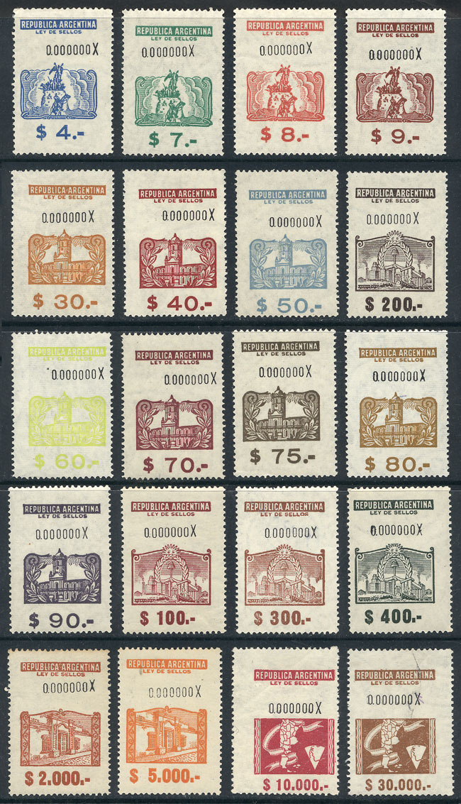 Lot 12 - Argentina revenue stamps -  Guillermo Jalil - Philatino Auction # 2017 WORLDWIDE + ARGENTINA: Selection of REVENUE stamps