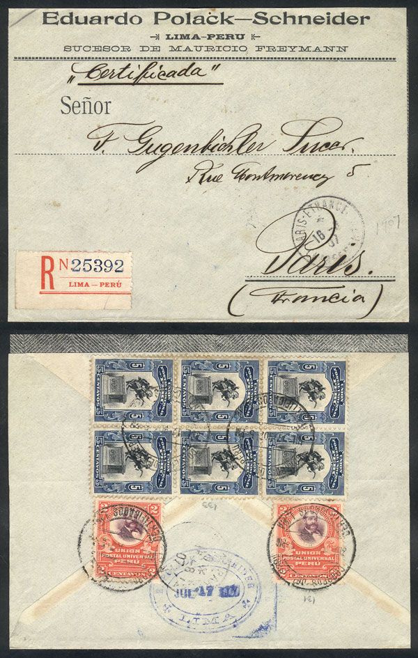 Lot 695 - Peru postal history -  Guillermo Jalil - Philatino Auction # 2018 WORLDWIDE + ARGENTINA: Special auction for the quarantine