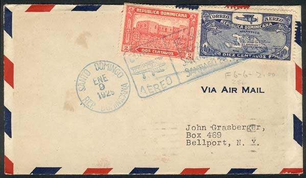 Lot 515 - dominican republic postal history -  Guillermo Jalil - Philatino Auction # 2018 WORLDWIDE + ARGENTINA: Special auction for the quarantine