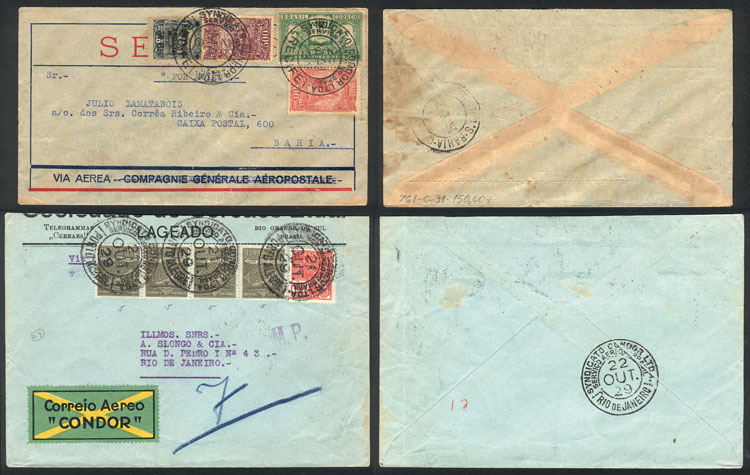 Lot 331 - brazil postal history -  Guillermo Jalil - Philatino Auction # 2018 WORLDWIDE + ARGENTINA: Special auction for the quarantine