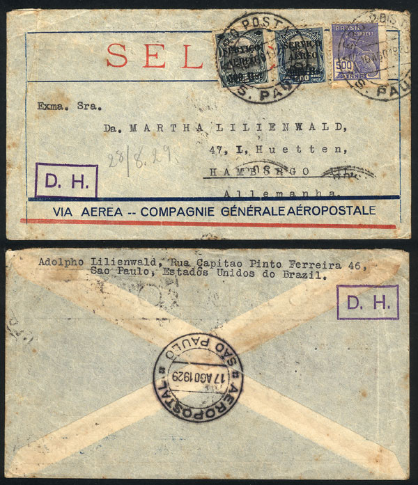 Lot 332 - brazil postal history -  Guillermo Jalil - Philatino Auction # 2018 WORLDWIDE + ARGENTINA: Special auction for the quarantine