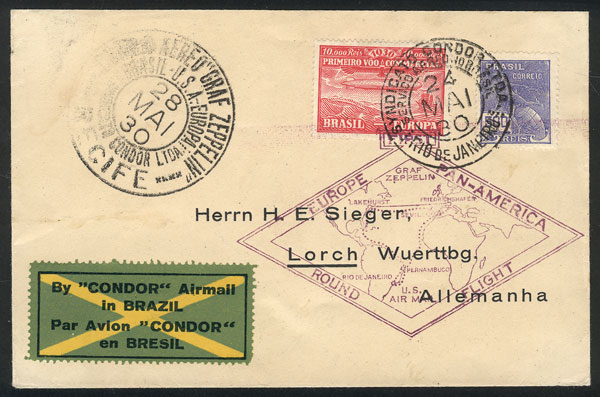 Lot 550 - brazil POSTAL HISTORY - FLIGHTS -  Guillermo Jalil - Philatino Auction # 2024 WORLDWIDE - ARGENTINA: Special June auction