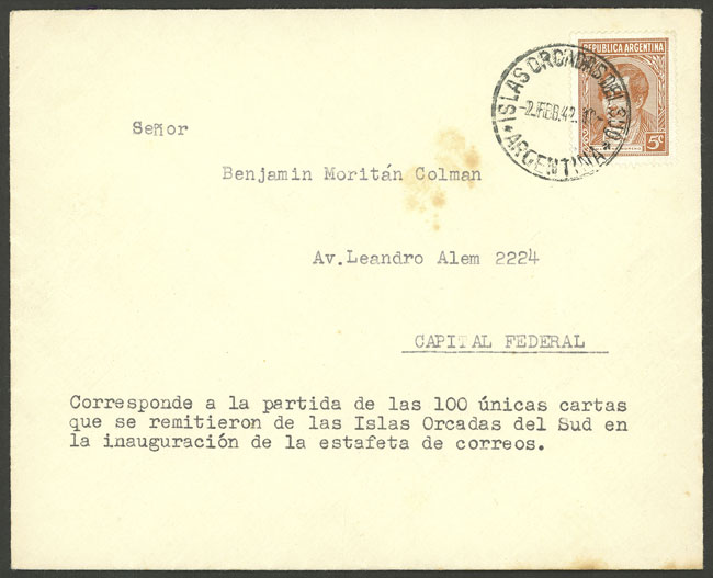 Lot 2 - antarctica postal history -  Guillermo Jalil - Philatino Auction # 2032 ARGENTINA: