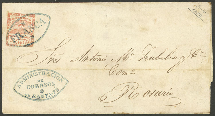 Lot 18 - Argentina confederation -  Guillermo Jalil - Philatino Auction # 2033 ARGENTINA: Special August sale!
