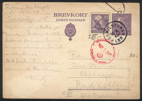 Lot 1166 - Sweden postal history -  Guillermo Jalil - Philatino Auction # 2035 WORLDWIDE + ARGENTINA: Great August sale!