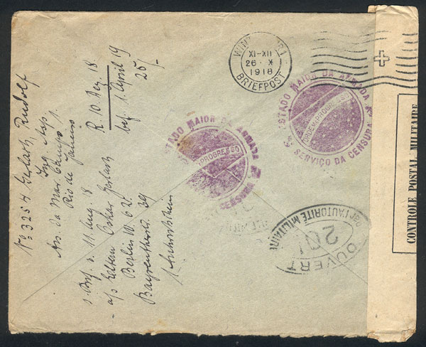 Lot 382 - brazil postal history -  Guillermo Jalil - Philatino Auction # 2035 WORLDWIDE + ARGENTINA: Great August sale!