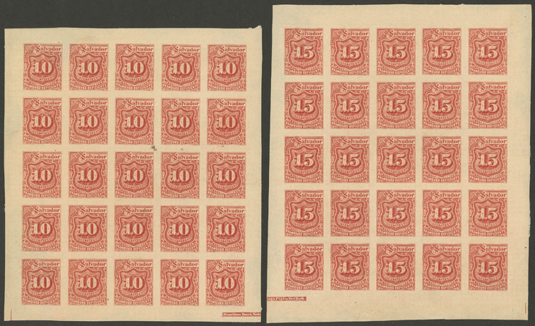 Lot 1150 - el salvador Postage due stamps -  Guillermo Jalil - Philatino Auction # 2035 WORLDWIDE + ARGENTINA: Great August sale!