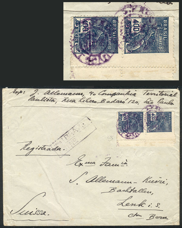 Lot 396 - brazil postal history -  Guillermo Jalil - Philatino Auction # 2035 WORLDWIDE + ARGENTINA: Great August sale!