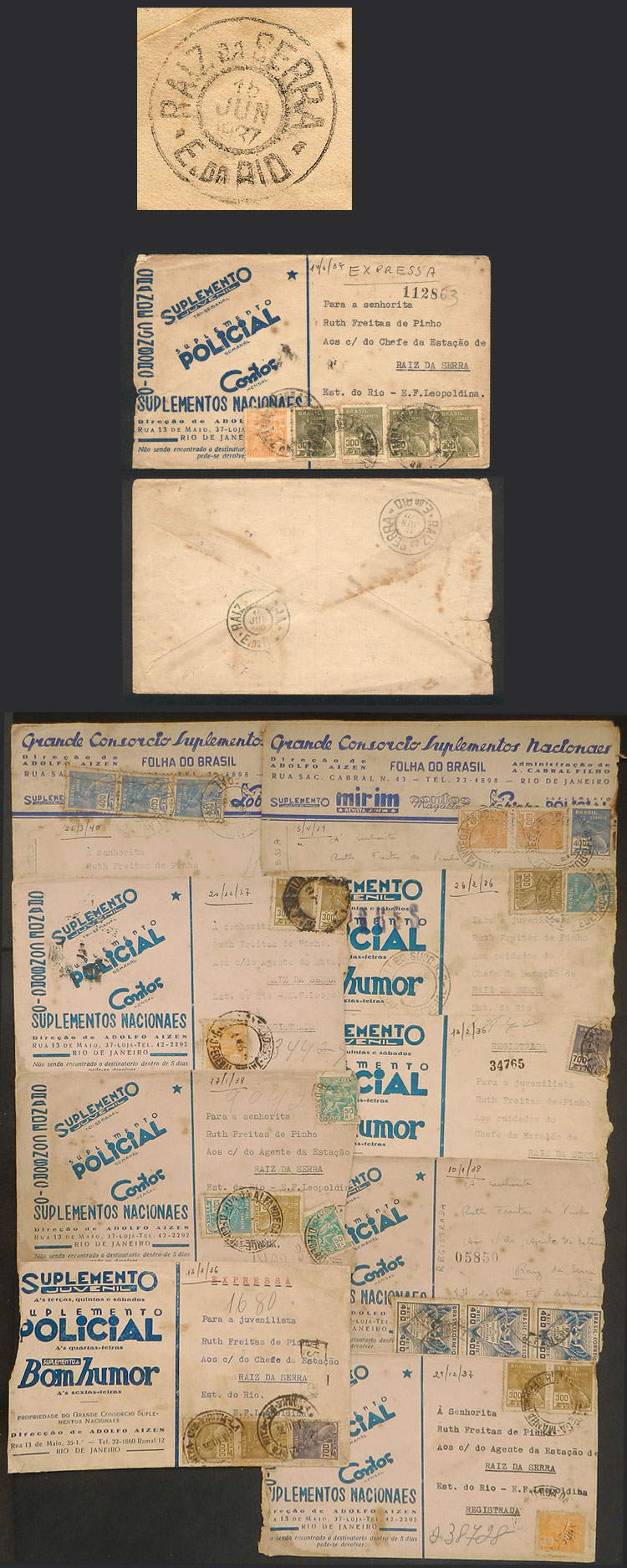 Lot 453 - brazil postal history -  Guillermo Jalil - Philatino Auction # 2035 WORLDWIDE + ARGENTINA: Great August sale!