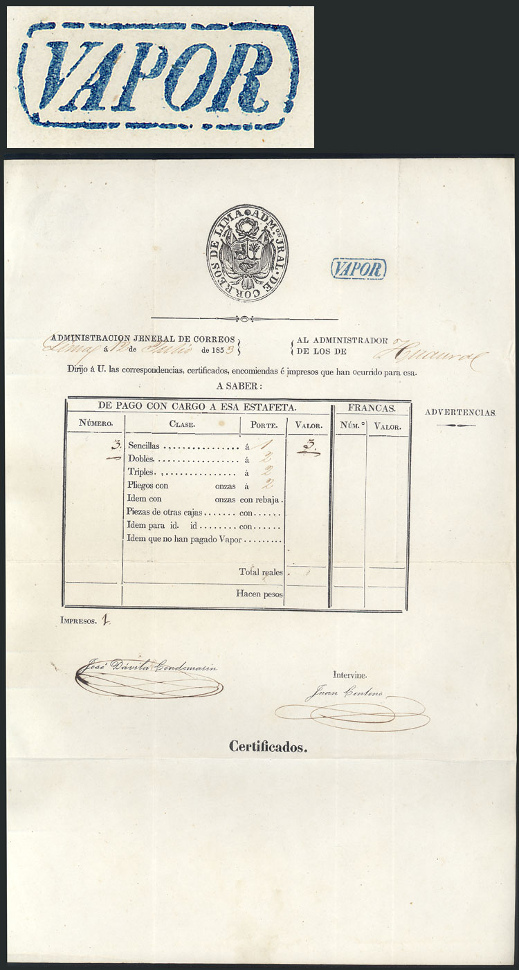 Lot 1151 - Peru postal history -  Guillermo Jalil - Philatino Auction # 2039 WORLDWIDE + ARGENTINA: General September auction