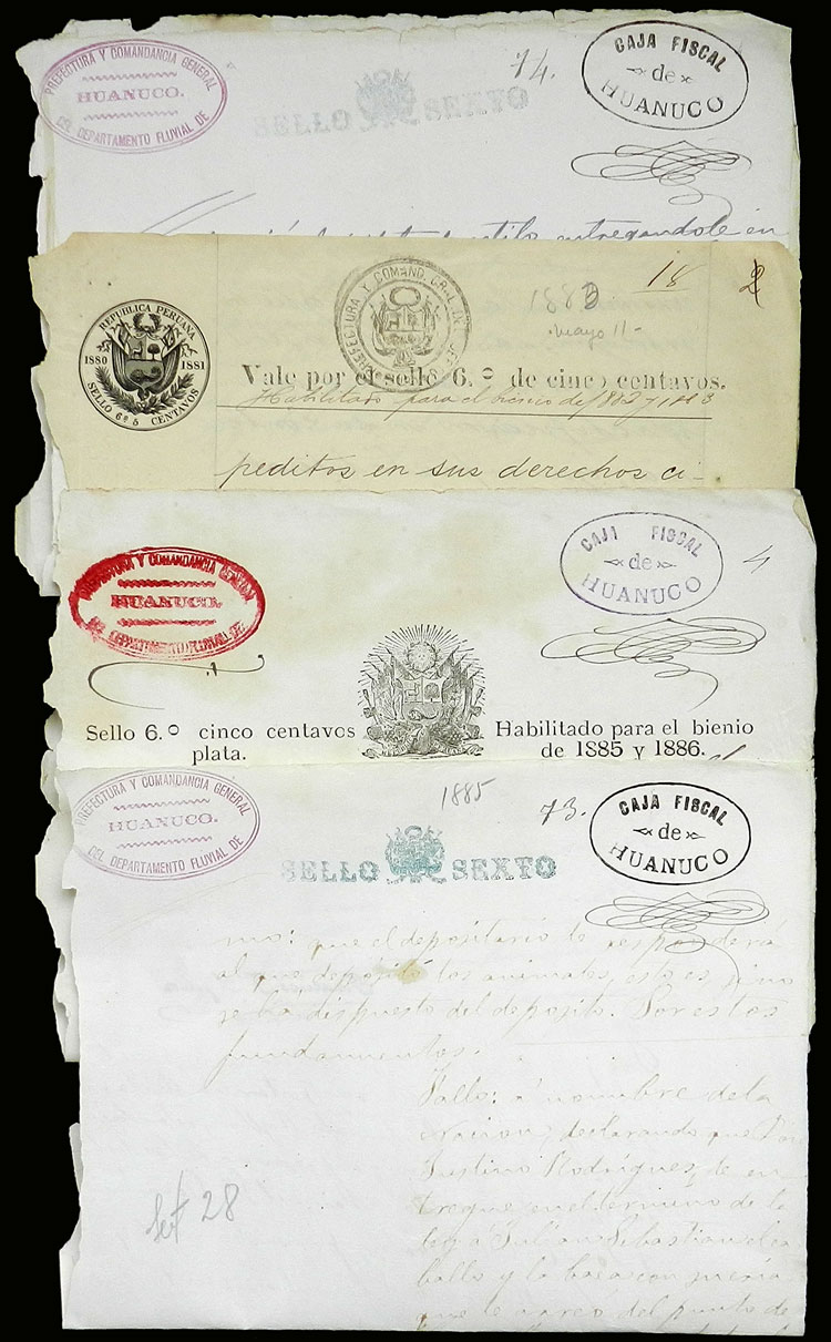 Lot 1193 - Peru revenue stamps -  Guillermo Jalil - Philatino Auction # 2039 WORLDWIDE + ARGENTINA: General September auction