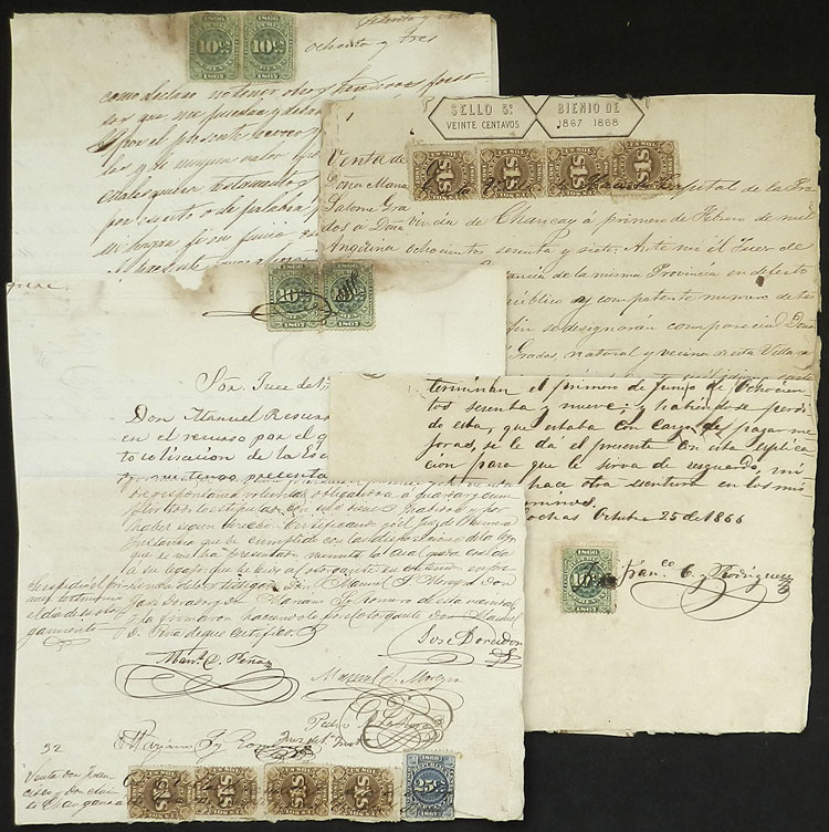 Lot 1185 - Peru revenue stamps -  Guillermo Jalil - Philatino Auction # 2039 WORLDWIDE + ARGENTINA: General September auction