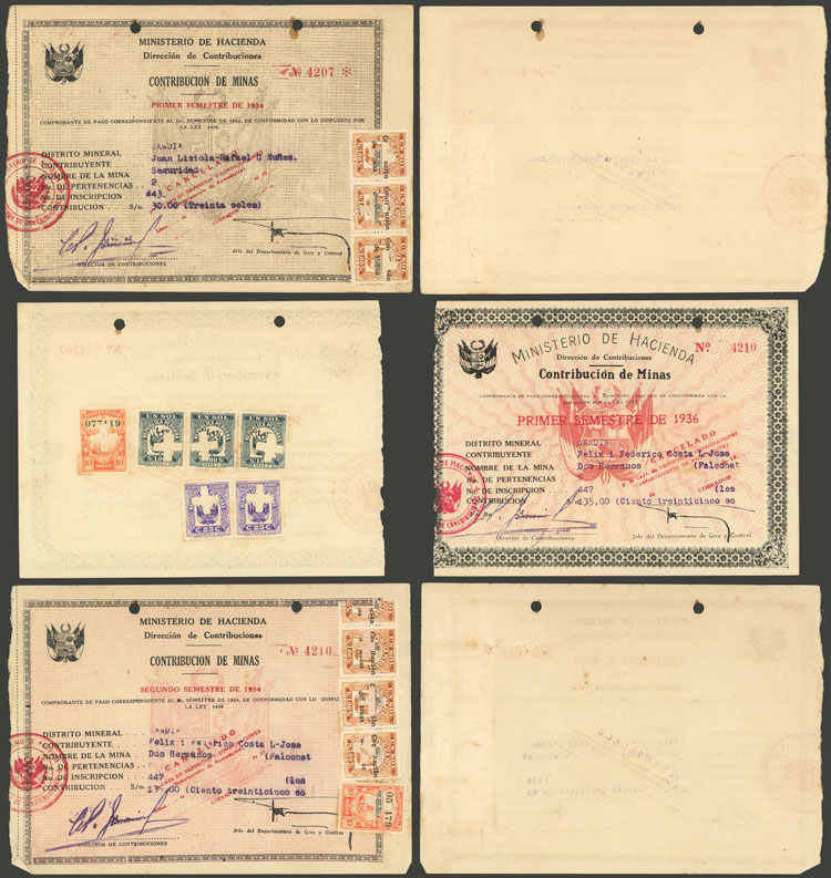 Lot 1188 - Peru revenue stamps -  Guillermo Jalil - Philatino Auction # 2039 WORLDWIDE + ARGENTINA: General September auction