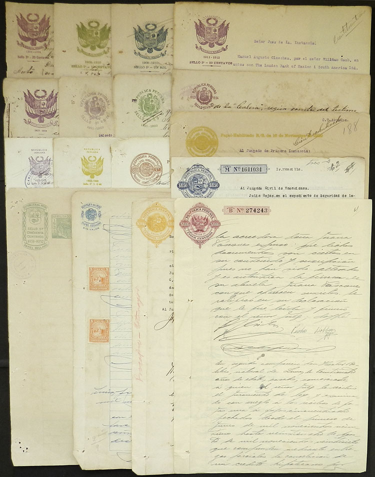 Lot 1194 - Peru revenue stamps -  Guillermo Jalil - Philatino Auction # 2039 WORLDWIDE + ARGENTINA: General September auction