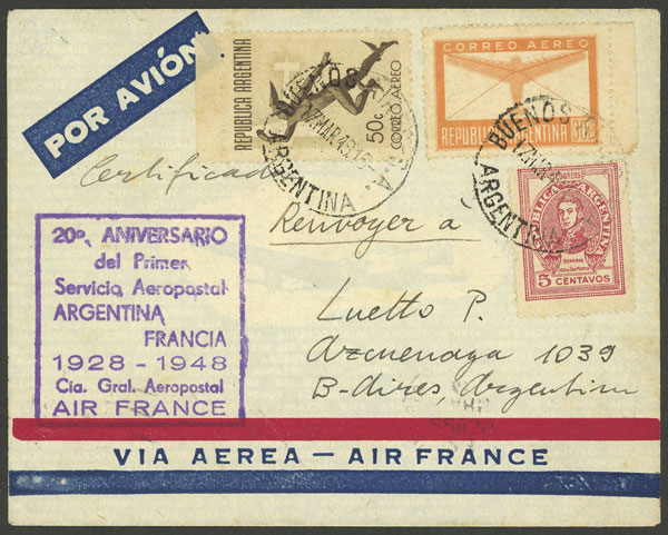 Lot 1552 - Argentina postal history -  Guillermo Jalil - Philatino Auction # 2041 ARGENTINA: general auction with very low starts!