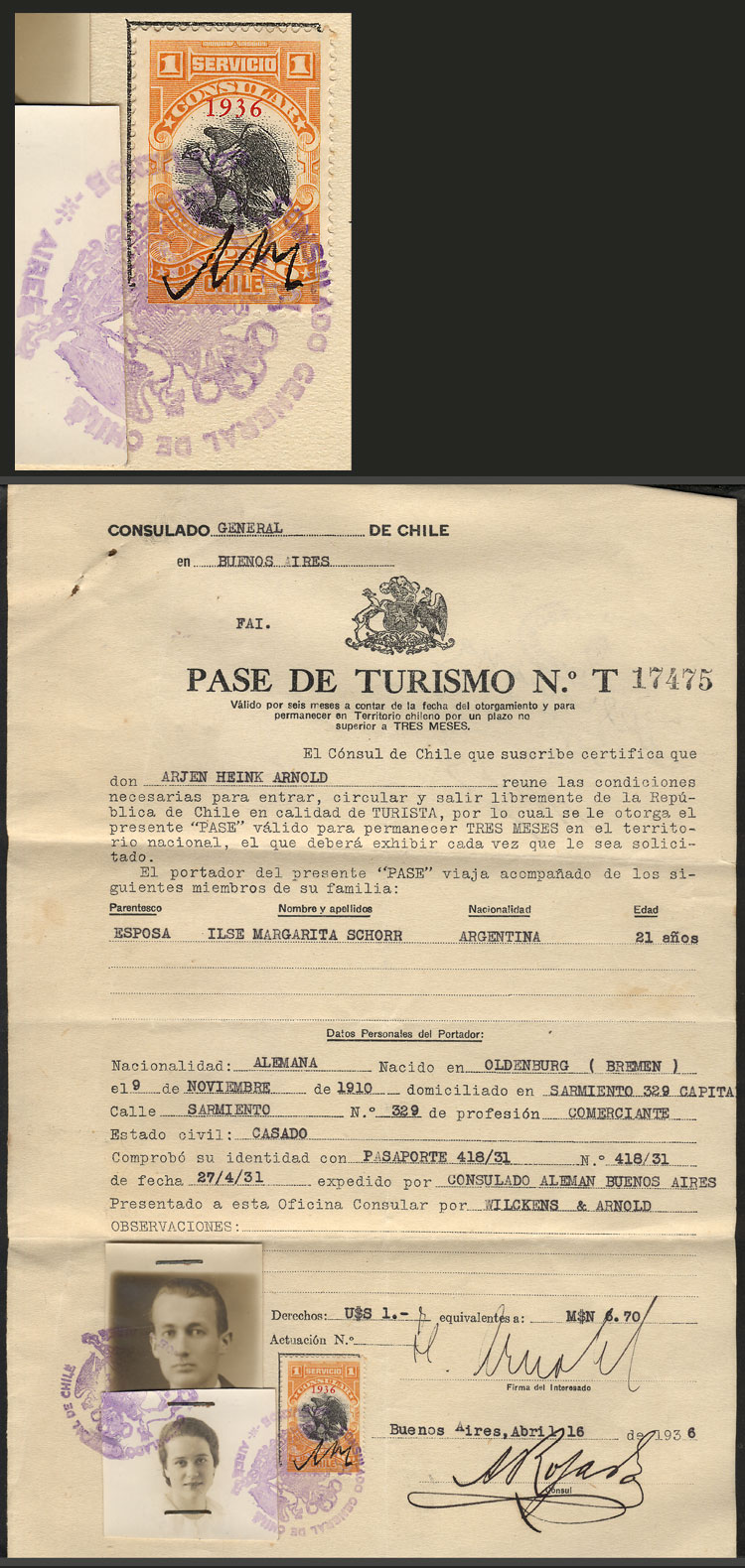 Lot 485 - Chile revenue stamps -  Guillermo Jalil - Philatino Auction # 2044 WORLDWIDE + ARGENTINA: General October auction