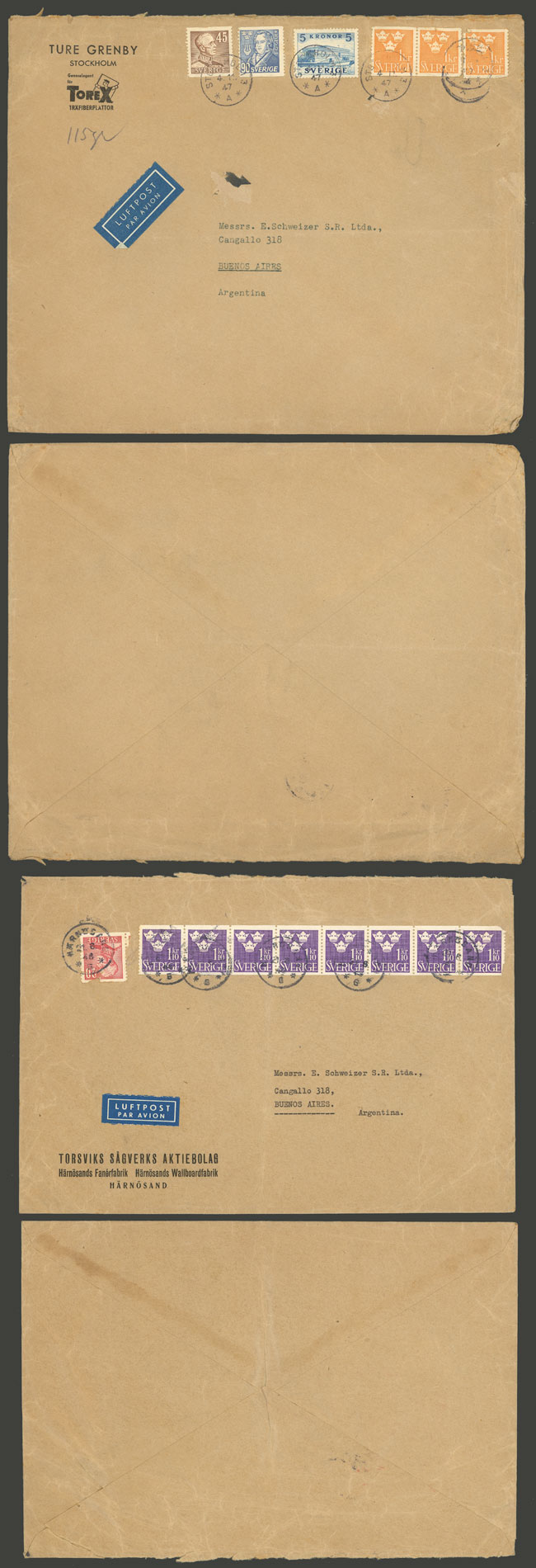 Lot 947 - Sweden postal history -  Guillermo Jalil - Philatino Auction # 2044 WORLDWIDE + ARGENTINA: General October auction