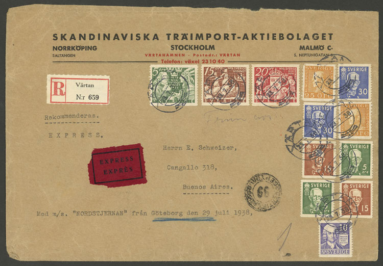 Lot 946 - Sweden postal history -  Guillermo Jalil - Philatino Auction # 2044 WORLDWIDE + ARGENTINA: General October auction