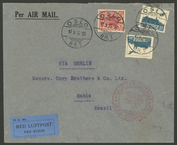 Lot 824 - Norway postal history -  Guillermo Jalil - Philatino Auction # 2044 WORLDWIDE + ARGENTINA: General October auction