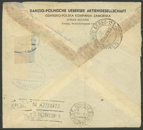 Lot 156 - germany - danzig postal history -  Guillermo Jalil - Philatino Auction # 2044 WORLDWIDE + ARGENTINA: General October auction