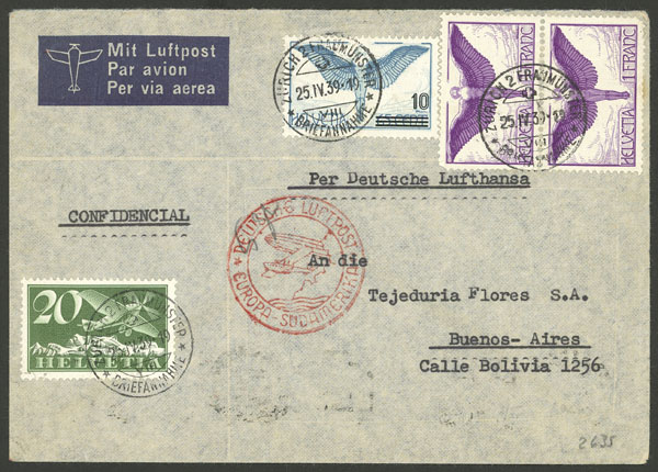 Lot 967 - Switzerland postal history -  Guillermo Jalil - Philatino Auction # 2044 WORLDWIDE + ARGENTINA: General October auction