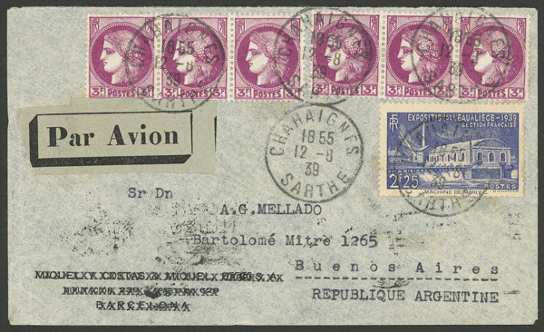 Lot 621 - France postal history -  Guillermo Jalil - Philatino Auction # 2044 WORLDWIDE + ARGENTINA: General October auction
