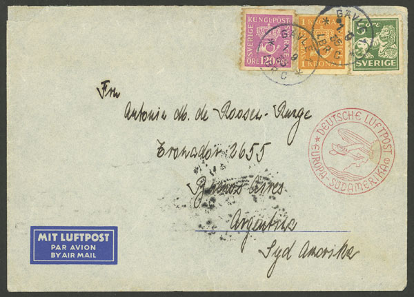 Lot 945 - Sweden postal history -  Guillermo Jalil - Philatino Auction # 2044 WORLDWIDE + ARGENTINA: General October auction