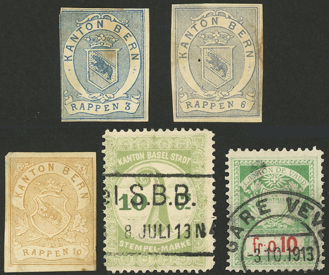 Lot 969 - Switzerland revenue stamps -  Guillermo Jalil - Philatino Auction # 2044 WORLDWIDE + ARGENTINA: General October auction