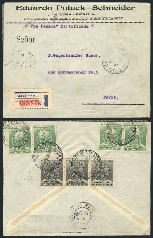 Lot 897 - Peru postal history -  Guillermo Jalil - Philatino Auction # 2044 WORLDWIDE + ARGENTINA: General October auction