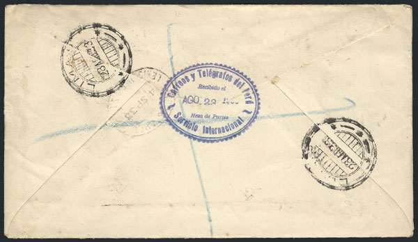 Lot 900 - Peru postal history -  Guillermo Jalil - Philatino Auction # 2044 WORLDWIDE + ARGENTINA: General October auction