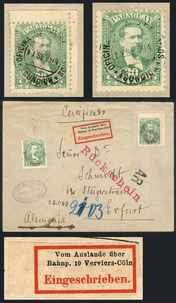 Lot 854 - Paraguay postal history -  Guillermo Jalil - Philatino Auction # 2044 WORLDWIDE + ARGENTINA: General October auction