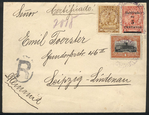Lot 860 - Paraguay postal history -  Guillermo Jalil - Philatino Auction # 2044 WORLDWIDE + ARGENTINA: General October auction